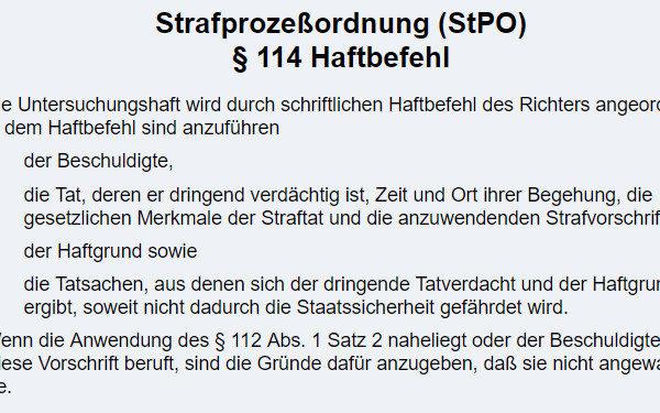 Haftbefehl 140 StPO