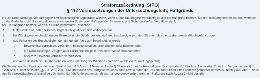 Untersuchungshaft Voraussetzungen §112 StPO
