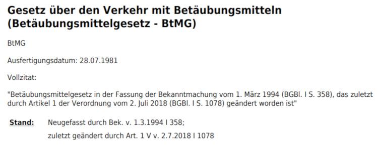 BtMG - Betäubungsmittelgesetz